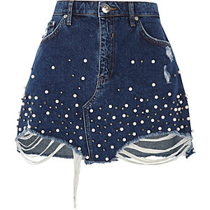 Blue faux pearl embellished denim mini skirt