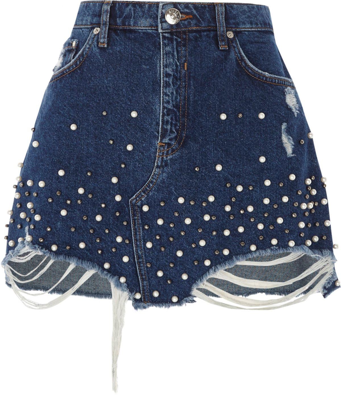 blue faux pearl embellished denim mini skirt skirts