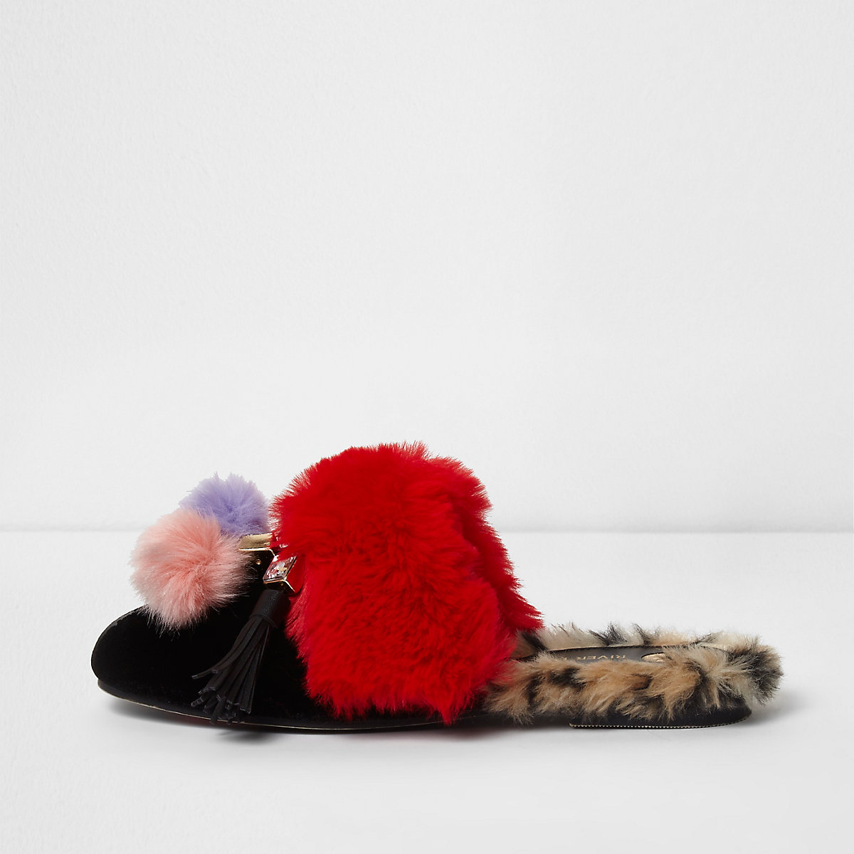 Black mixed faux fur pom pom backless loafers