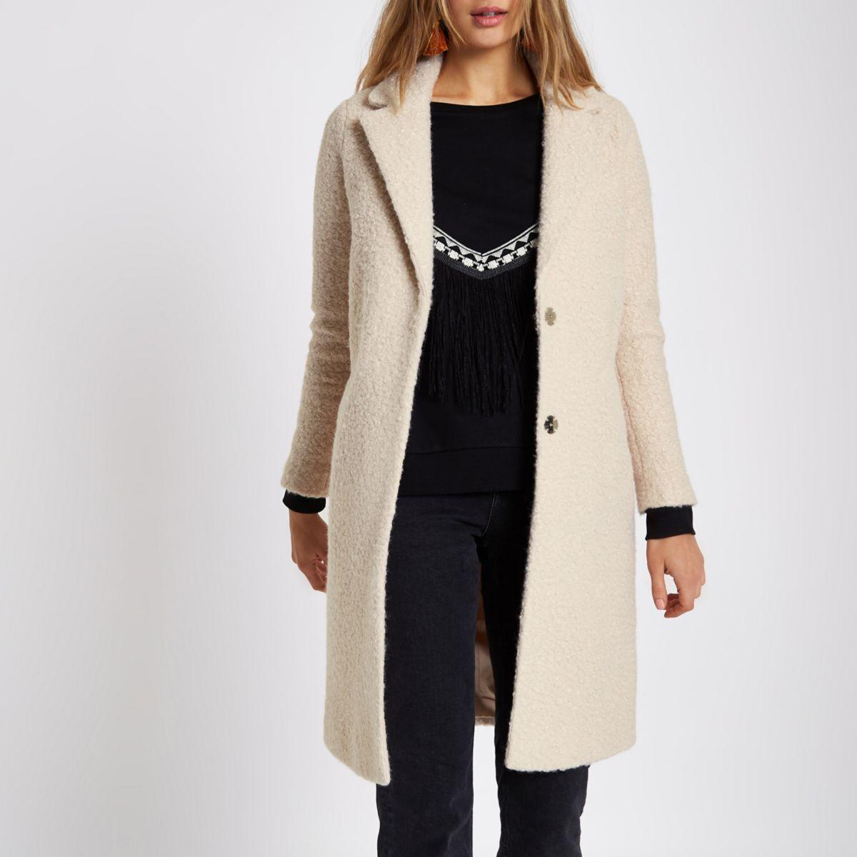 Cream boucle coat