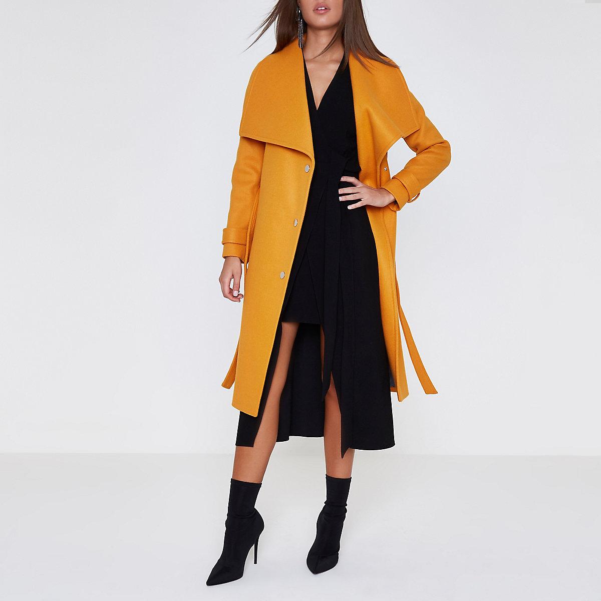 Orange longline robe coat