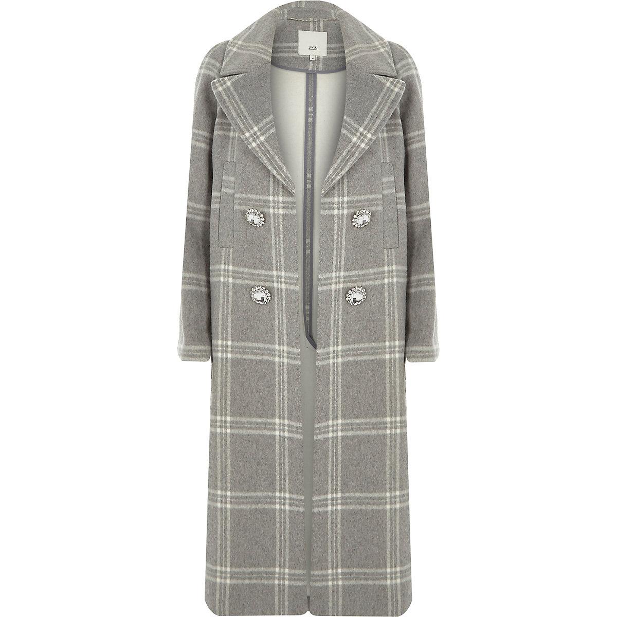 Manteau croisé à carreaux gris clair