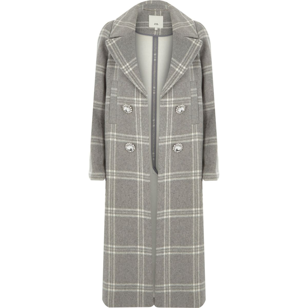 Lichtgrijze geruite double-breasted jas met broche
