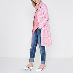 Pink mix check coat