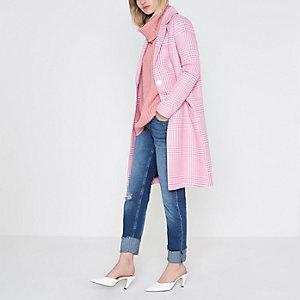 Manteau à carreaux variés rose