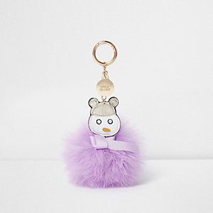 Purple feather pom pom snowman keyring