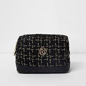 Black tweed make-up bag