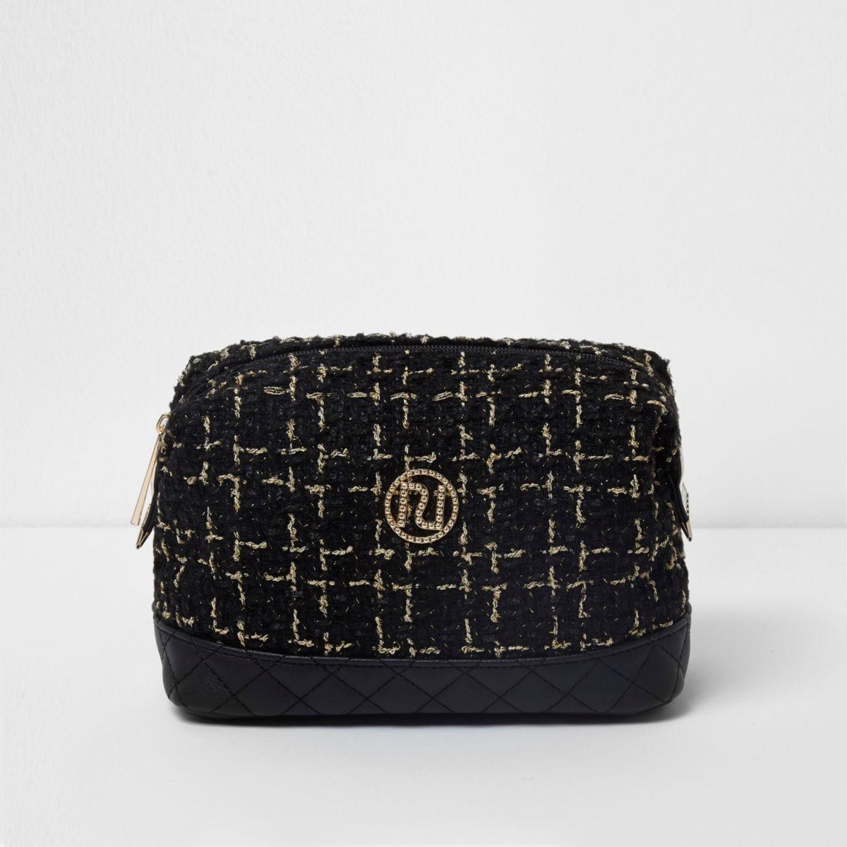 Black tweed makeup bag