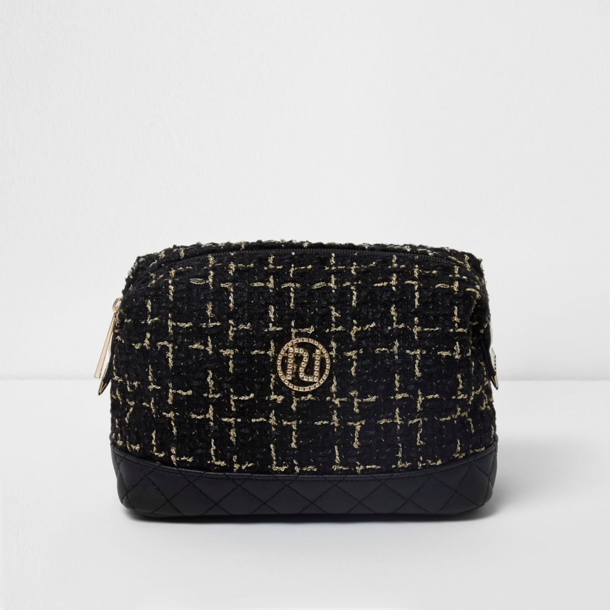 Zwart tweed make-uptasje