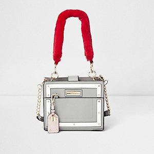 Grijze vierkante handtas met handvat van imitatiebont