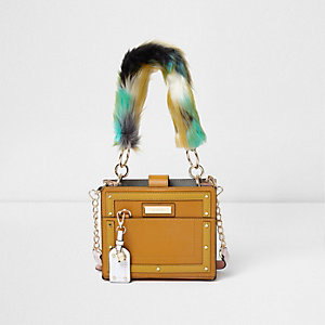 Yellow faux fur handle boxy tote bag