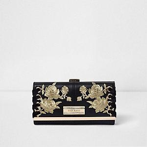 Zwarte portemonnee met druksluiting en geborduurde bloemen