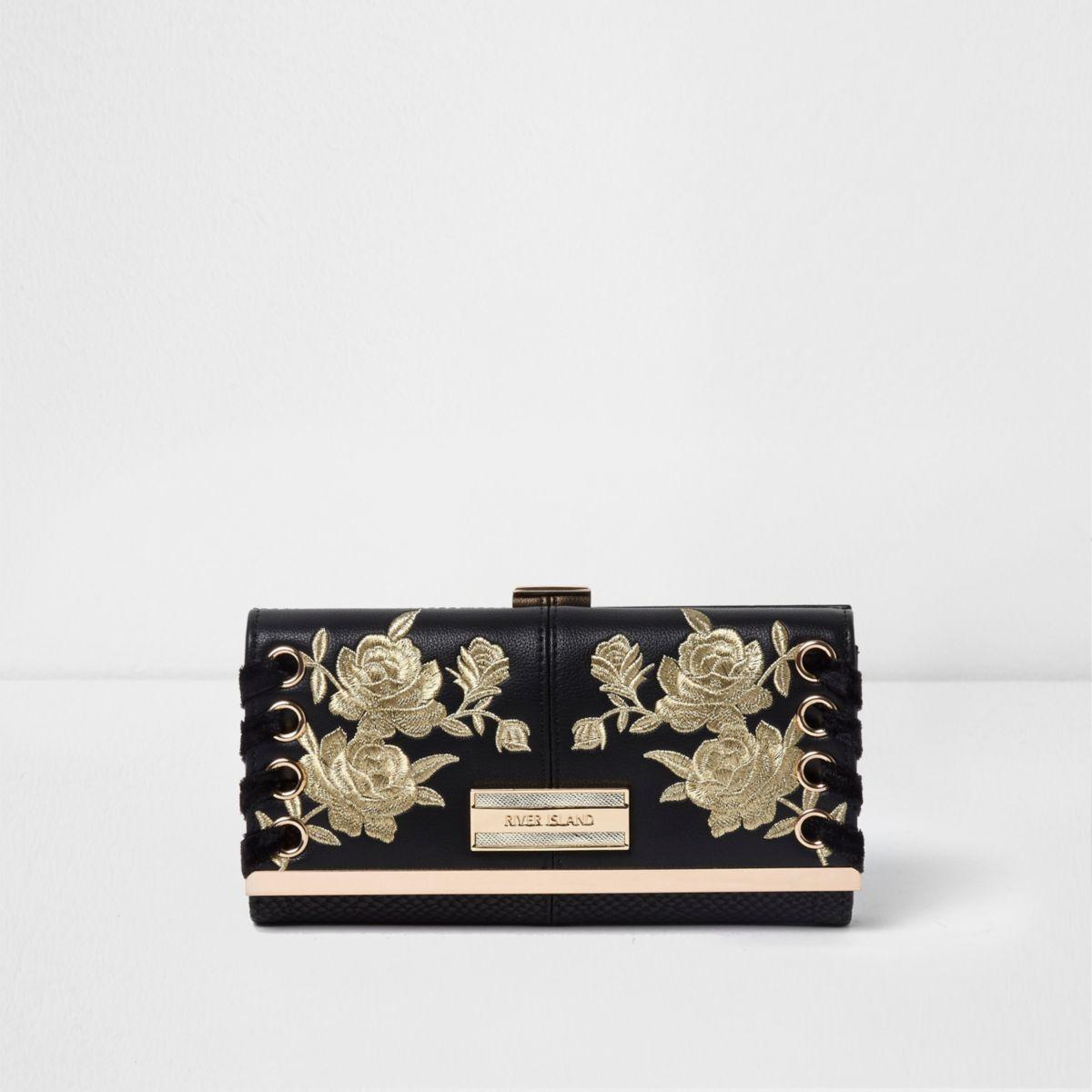 Schwarze Geldbörse mit Blumenstickerei
