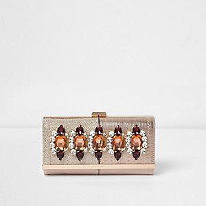 Gold jewel embellished clip top purse