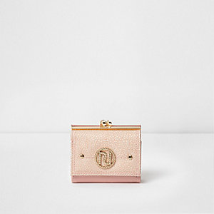 Pink RI branded clip top purse