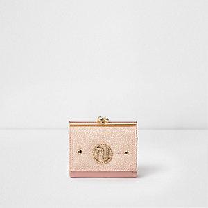 Roze portemonnee met RI-logo en druksluiting