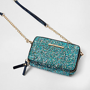 Blue glitter cross body chain bag
