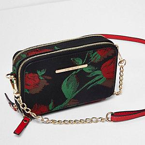 Zwarte crossbodytas met ketting en rozenprint