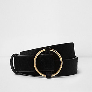 Black pony hair leather jeans belt