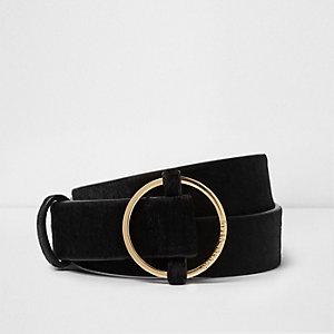 Black pony hair leather jeans belt