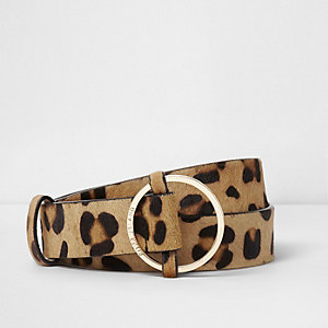 Brown leather leopard faux pony hair belt