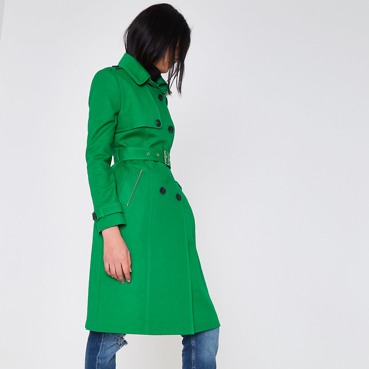 Bright green belted trench coat