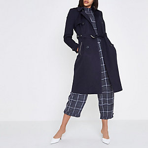 Navy belted trench coat