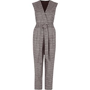 Grey check sleeveless tailored jumpsuit