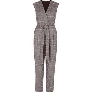Grijze geruite mouwloze tailored jumpsuit