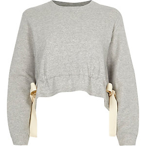 Grey tie side cropped sweatshirt