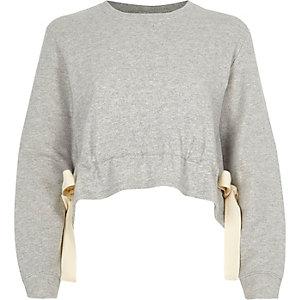 Grijs cropped sweatshirt met strik opzij