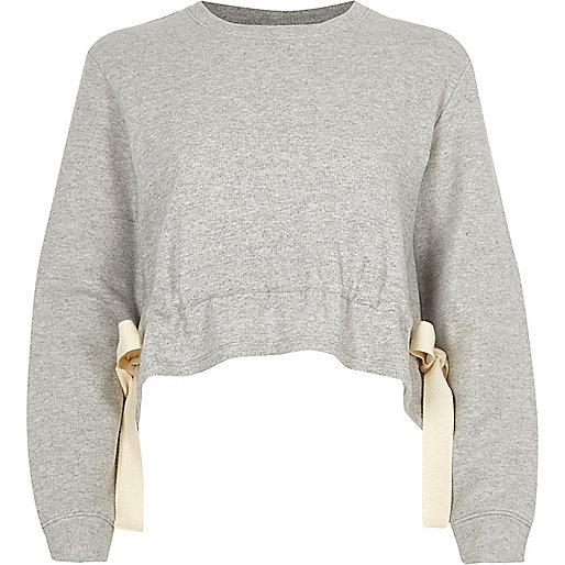 Grey tie side cropped sweatshirt