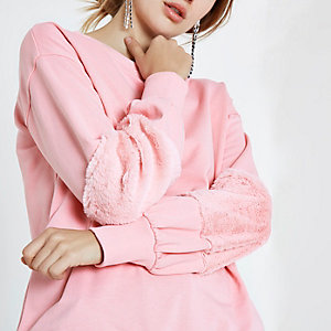 Pink faux fur sleeve sweatshirt