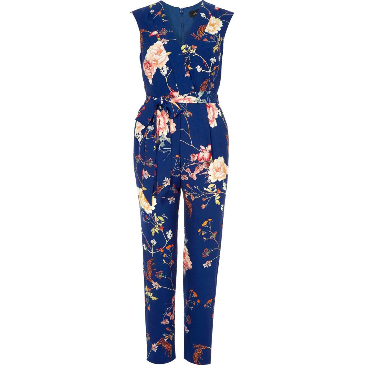 Blue floral print tailored jumpsuit