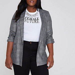 Plus grey check bar cuff longline blazer
