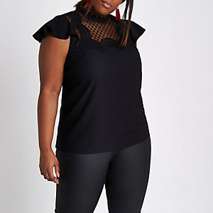 Plus black crochet yoke high neck shell top