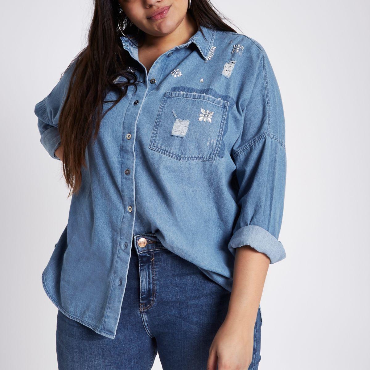 Plus blue embellished denim shirt