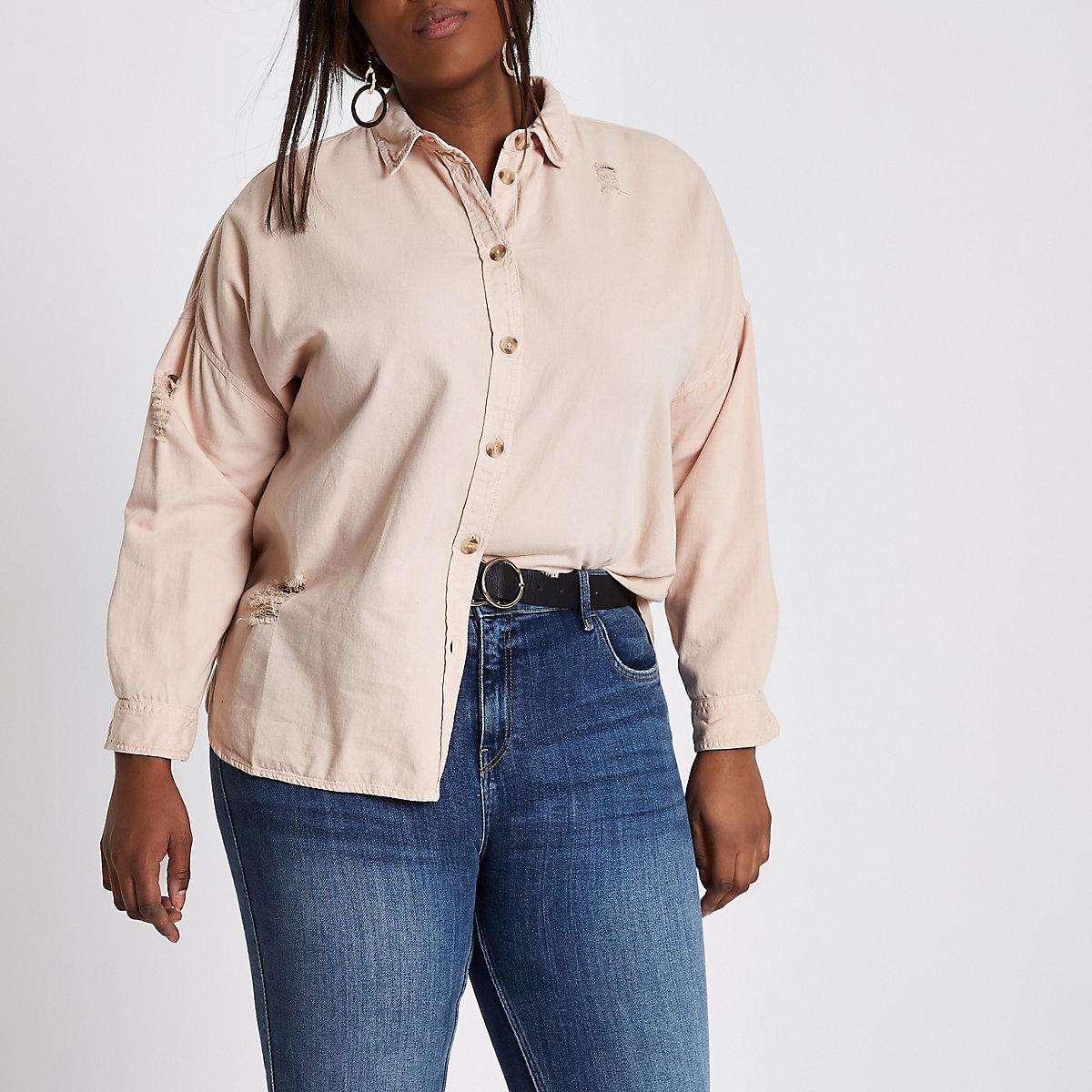 Plus pink distressed oversized denim shirt