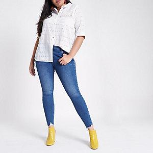 RI Plus - Wit geborduurd overhemd met split op de rug