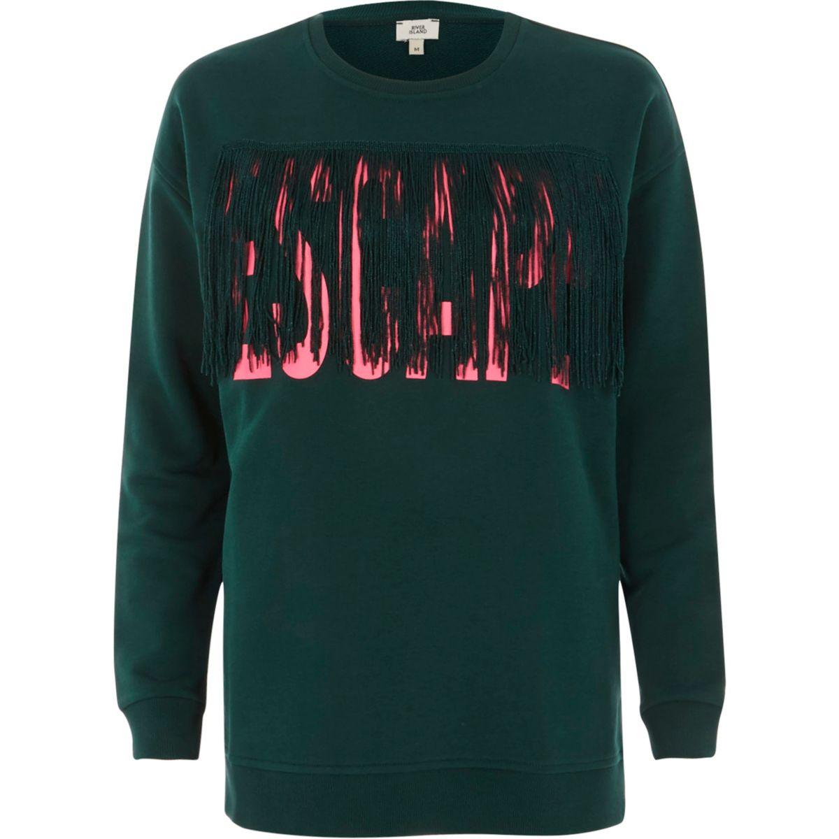 Green 'escape' tassel sweatshirt