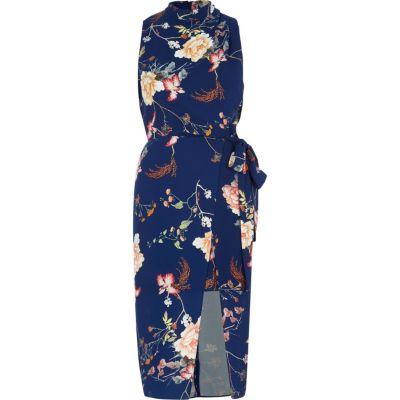 River Island Blauwe hoogsluitende midi-jurk met overslag en bloemenprint