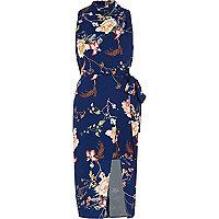 Blue floral print high neck wrap midi dress