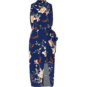 Robe mi-longue à fleurs bleu à encolure haute croisée