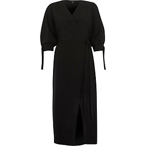 Black tie sleeve wrap midi dress