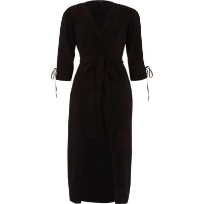 River Island Zwarte midi-jurk met strikceintuur met overslag voor