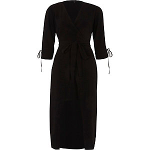 Black tie waist wrap front midi dress