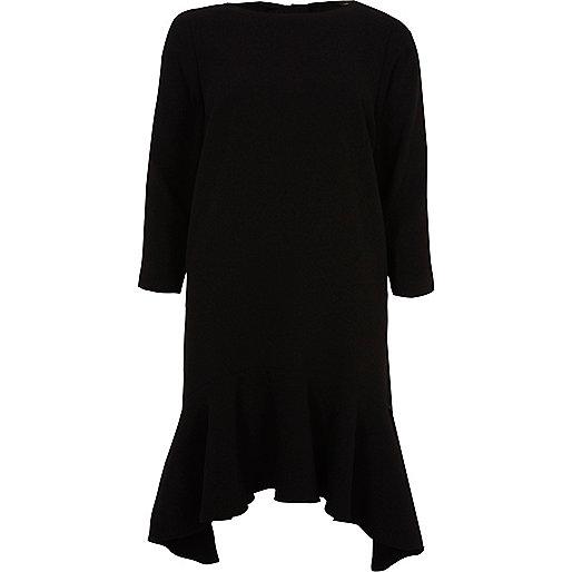 Black peplum hem long sleeve swing dress
