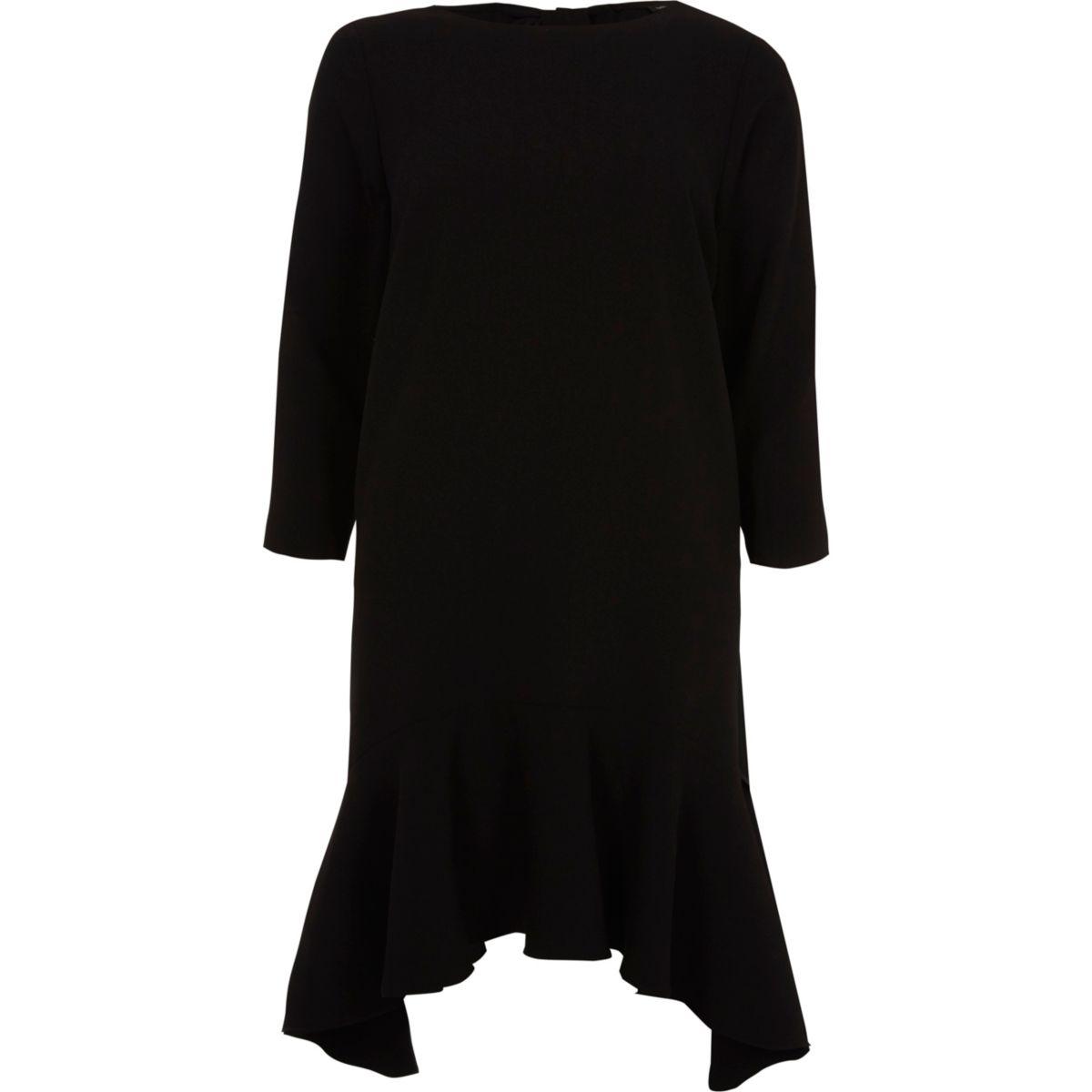 Schwarzes Swing-Kleid mit langen Ärmeln und Schößchen