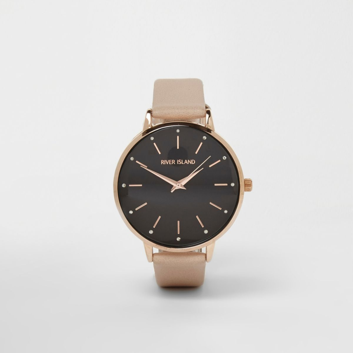 Beige strap black round face watch