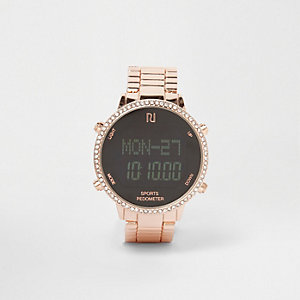 Rose gold tone diamante pedometer